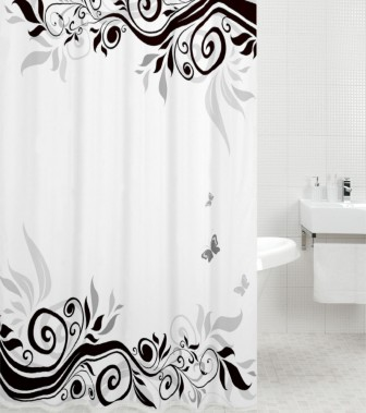 Curtains Ideas black shower curtain with white flower : Curtain Black Flower 180 x 200 cm