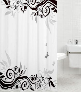 Shower Curtain Black Flower 180 x 200 cm