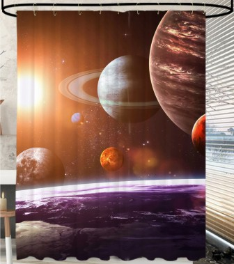 Shower Curtain Planets 180 x 200 cm