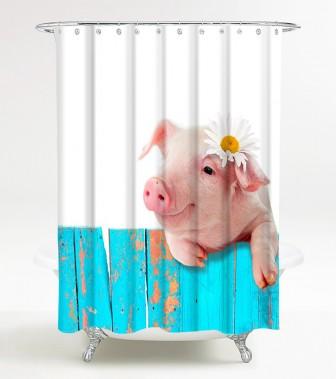 Shower Curtain Pig 180 x 180 cm