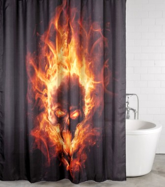 Shower Curtain Skull in Flames 180 x 180 cm