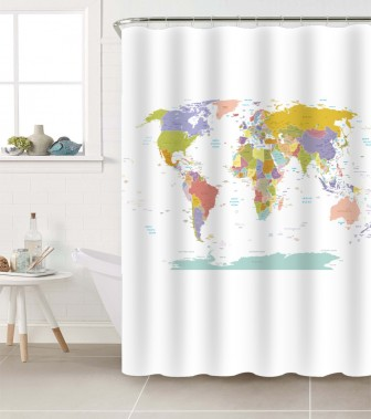 Shower Curtain World Map 180 x 180 cm