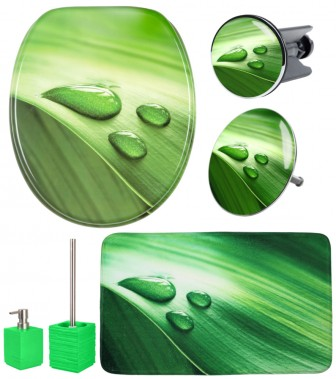 Bathroom Set Green Leaf