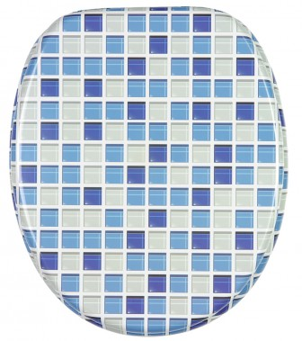 Close Toilet Seat Mosaic Blue - Blue soft close toilet seat