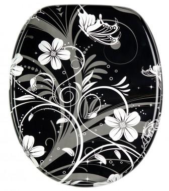 black and white toilet seat. Soft Close Toilet Seat White Flower