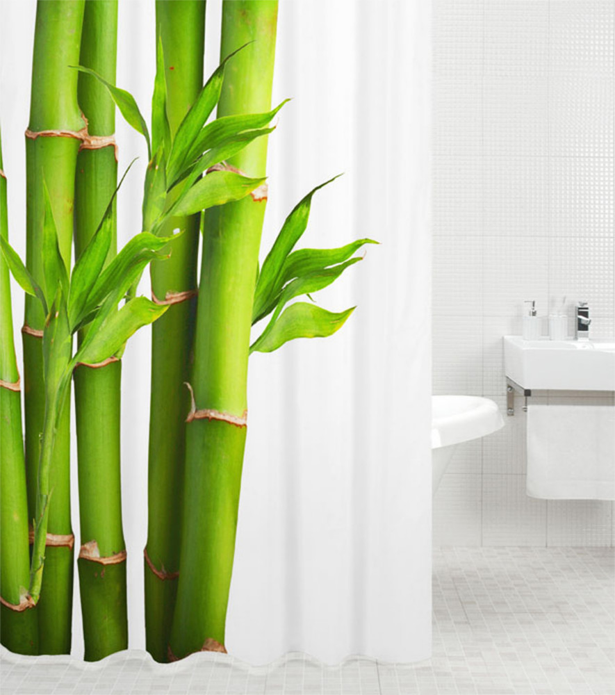 Shower curtain bamboo 180 x 200 cm for Rideau de douche petite largeur