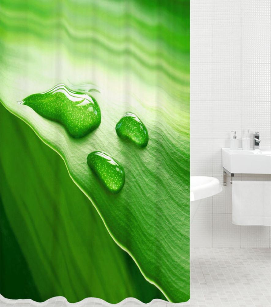Shower Curtain Green Leaf 180 X Cm