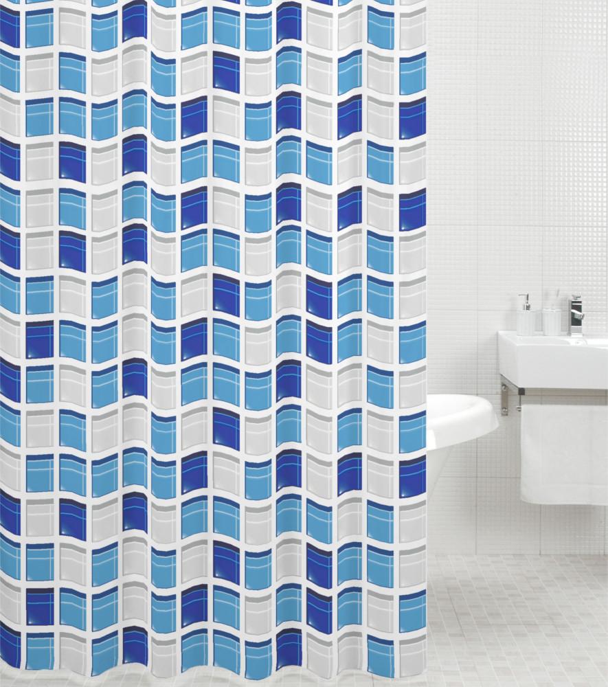 shower curtain mosaic blue 180 x 200 cm. Black Bedroom Furniture Sets. Home Design Ideas