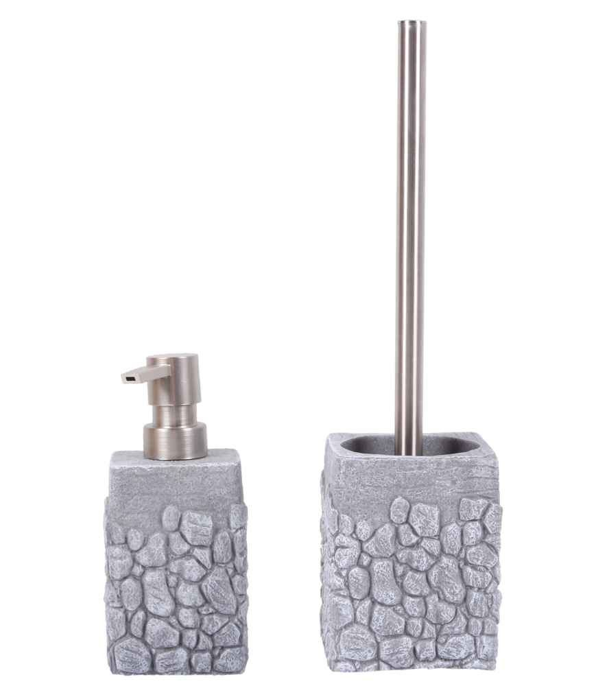 Bathroom set grey stone for Grey bathroom accessories set