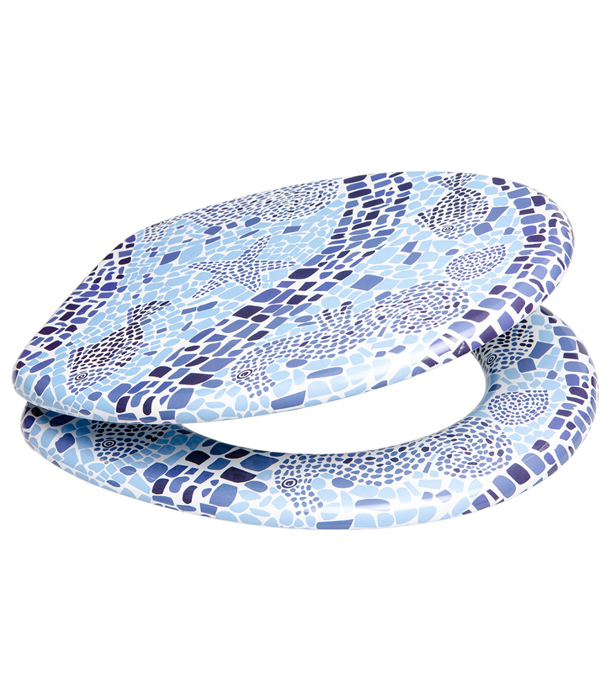 Close Toilet Seat Mosaic World - Blue soft close toilet seat