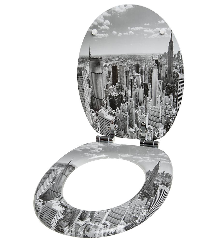 Close Toilet Seat Skyline New York