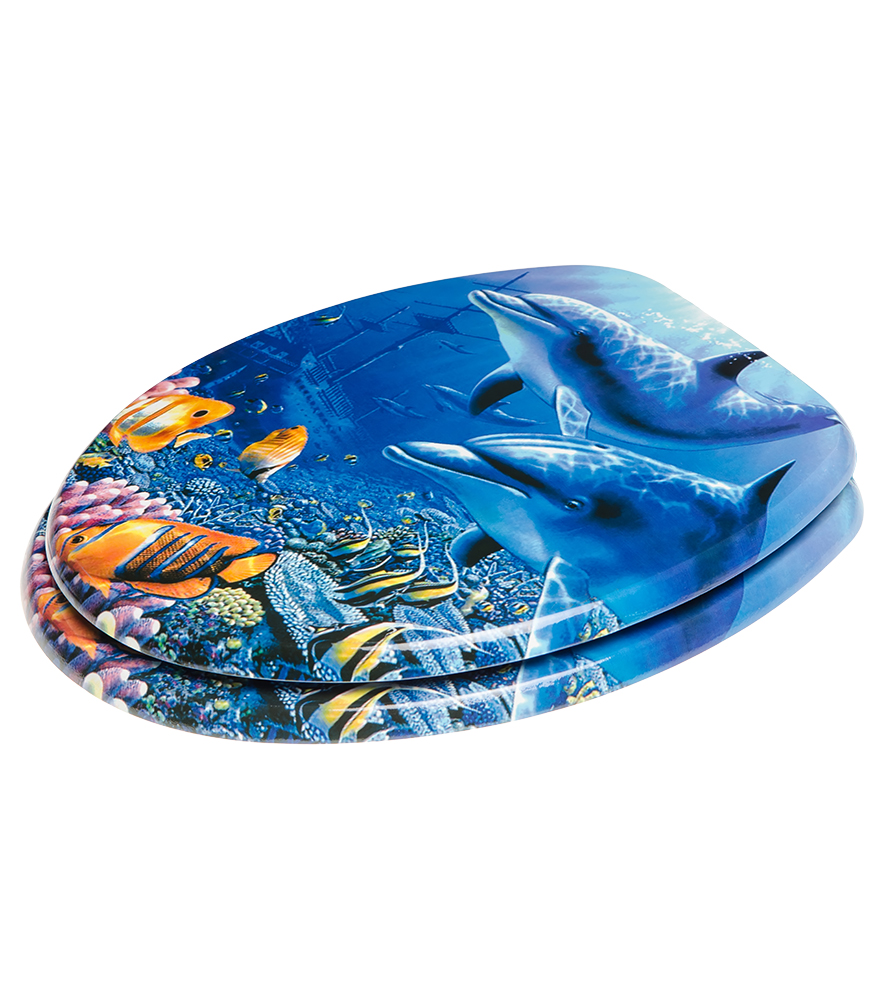 Close Toilet Seat Dolphin - Blue soft close toilet seat