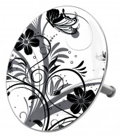 Bathtube Plug Black Flower