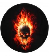 Bath Rug round Skull in Flames Ø 80 cm
