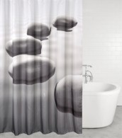 Shower Curtain Black Stones 180 x 200 cm