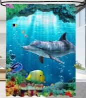 Shower Curtain Dolphin Corals 180 x 200 cm
