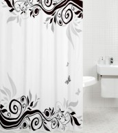 Shower Curtain Black Flower 180 x 200 cm