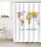 Shower Curtain World Map 180 x 200 cm