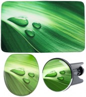 3 Piece Bathroom Set Green Leaf