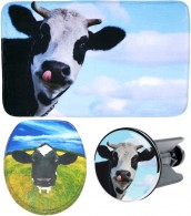 3 Piece Bathroom Set Cow