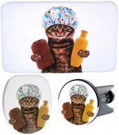 3 Piece Bathroom Set Shower Cat