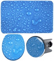 3 Piece Bathroom Set Water Pearls Blue