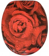 Soft Close Toilet Seat Red Rose