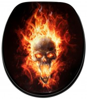 Soft Close Toilet Seat Skull in Flames