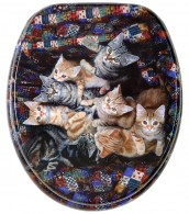 Toilet Seat Brown Cats