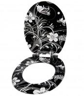 Soft Close Toilet Seat White Flower