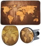 3 Piece Bathroom Set World Map